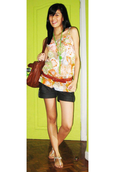 sm department store blouse - Topshop shorts - forever 21 -