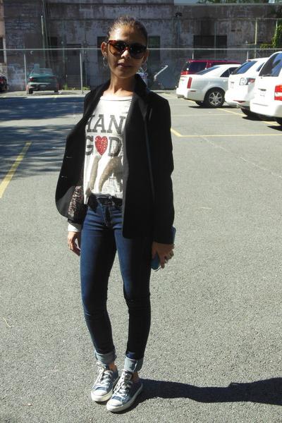 black Forever 21 blazer - navy papaya jeans - silver Forever 21 t-shirt