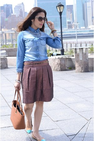 blue Uniqlo shirt - light brown JCP skirt