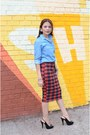 Blue-uniqlo-blouse-black-chinese-laundry-heels-ruby-red-unkown-skirt