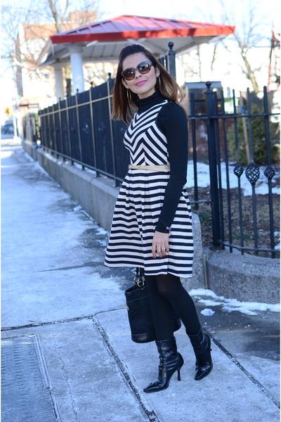 black Macys boots - black TJMaxx dress