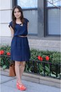 Navy-mango-dress-salmon-zara-wedges