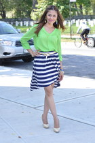chartreuse TJMaxx shirt - navy TJMaxx skirt - light yellow Vince Camuto heels
