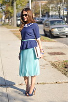 Zara skirt - cream Urban Outfitters bag - navy Forever 21 blouse