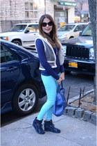 blue Mango bag - heather gray Forever 21 vest - navy skcher sneakers