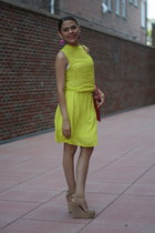 lime green Zara dress - hot pink Target bag - tan Aldo pumps