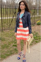 salmon Forever 21 dress - navy Forever21 jacket - eggshell Urban Outfitters bag