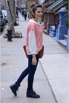 beige Forever 21 blouse - navy papaya jeans - salmon Zara sweatshirt