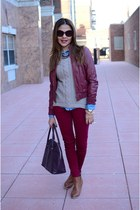 tan TJMaxx sweater - ruby red Forever 21 jacket - sky blue Uniqlo blouse
