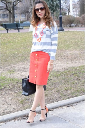 salmon Forever21 skirt - black Ivanka Trump bag