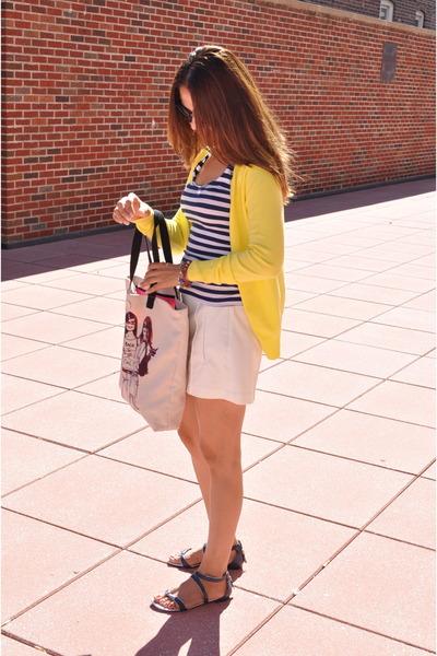 yellow Zara sweater - white Gap shorts