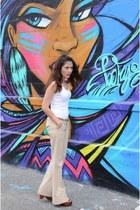 tan united colors of benetton pants - ivory Gap top - light brown Zara wedges