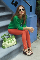 teal Forever 21 sweater - teal coach bag - tawny TJMaxx pants