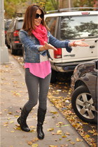 hot pink Urban Outfitters scarf - heather gray Forever 21 jeans