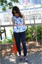blue floral print Forever 21 blouse - navy Mango pants