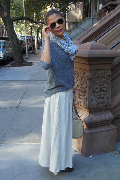 cream TJMaxx skirt - sky blue American Eagle scarf - blue Express sweatshirt