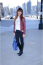 black Enzo Angiolini boots - white Zara t-shirt - black Armani Exchange pants