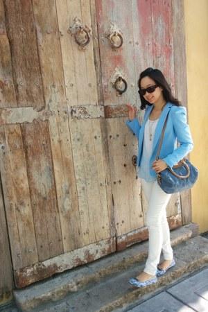 sky blue Zara blazer - ivory Express pants - aquamarine Loft flats