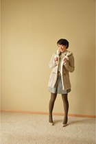 tan Zara jacket - heather gray Zara skirt - heather gray JCrew cardigan