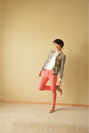 off white Zara top - coral Gap pants - heather gray JCrew cardigan