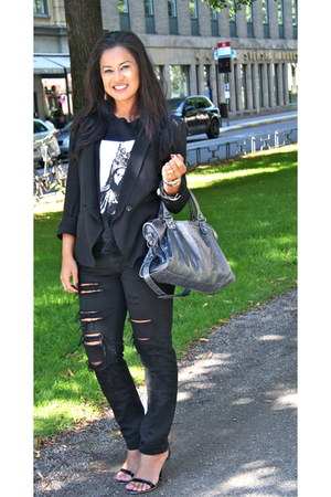 black Helmut Lang blazer - blue balenciaga bag - black Givenchy t-shirt