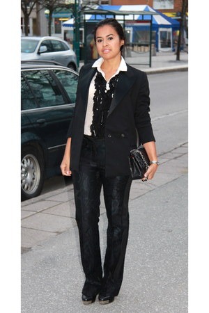 black HM by Lanvin blazer - black Chanel bag - white D&G blouse