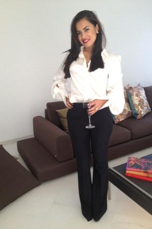 black Alexander McQueen pants - white Alexander McQueen blouse