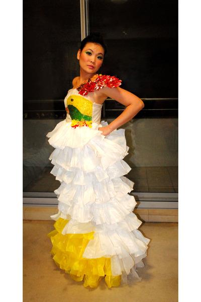 Plastic bag dresses commit