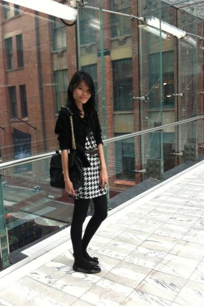 Heather Gray Flat Shoes Shoes White Houndstood Dresses Black