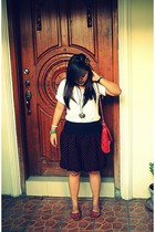 sm department store bag - thrifted skirt - Greenhills flats - Forever 21 necklac