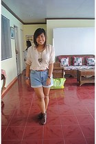 brown thrifted boots - maong thrifted shorts - beige thrifted blouse