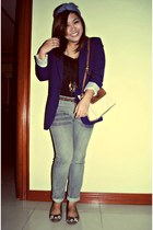 blue Forever 21 blazer - liz claiborne bag - black Greenhills top
