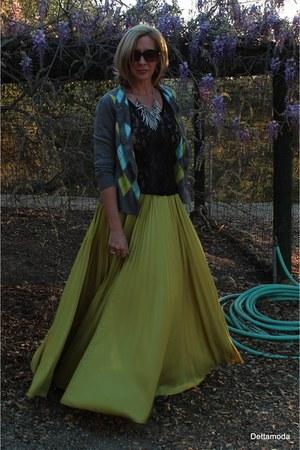 New York and Company cardigan - BCBG skirt - Clocharme flats