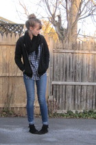 black Target scarf - black Hanes sweater - blue altered 2nd hand jeans - blue th