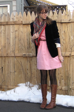blue thrift blazer - pink 2nd Hand dress - red moms scarf - brown f21 boots