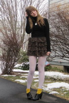 black f21 sweater - red f21 skirt - gold socks - black H&M shoes