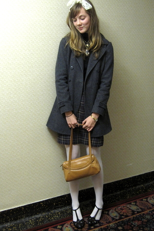 gray coat - purple skirt - brown shoes - gold purse