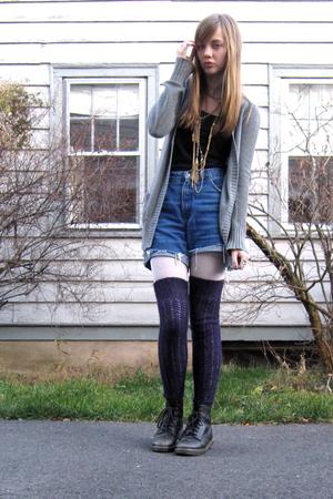 gray cardigan - blue shorts - purple socks