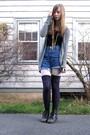 Gray-cardigan-blue-shorts-purple-socks