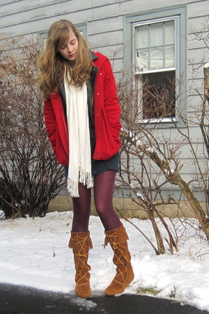 red f21 coat - white Target scarf - blue Macys dress - purple Target tights - br