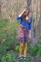 consignment dress - thrift shirt - Anthropologie tights - vintage from Ebay shoe