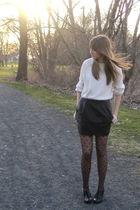 white stolen from dad sweater - black f21 skirt - black Topshop tights - black H