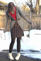 gray Target cardigan - pink H&M sweater - purple thrift skirt - white Ebay boots