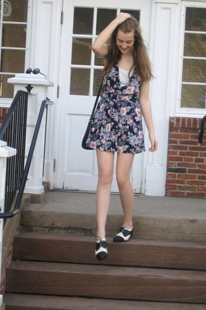 black Target sunglasses - pink thrifted and hemmed dress - black thrift purse -