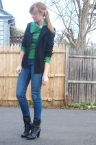 black 2nd Hand blazer - green  sweater - blue 2nd Hand jeans - black f21 boots