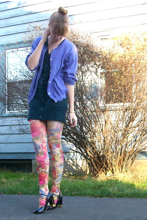 blue Macys dress - purple thrift cardigan - pink H&M tights - black delias shoes
