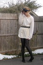 Beige-stolen-from-dad-sweater-beige-american-apparel-dress-black-h-m-tights