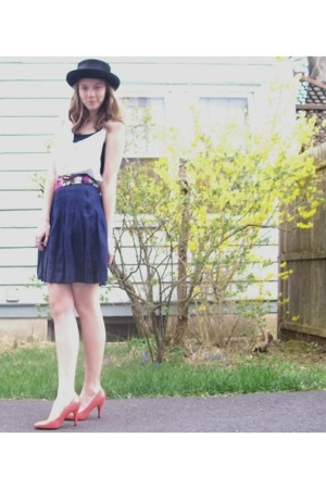 vintage hat - diy from dads shirt top - vintage skirt - payless shoes