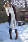 White-h-m-scarf-red-target-cardigan-brown-f21-boots