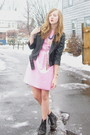 Black-delias-jacket-pink-2nd-hand-dress-black-ebay-boots